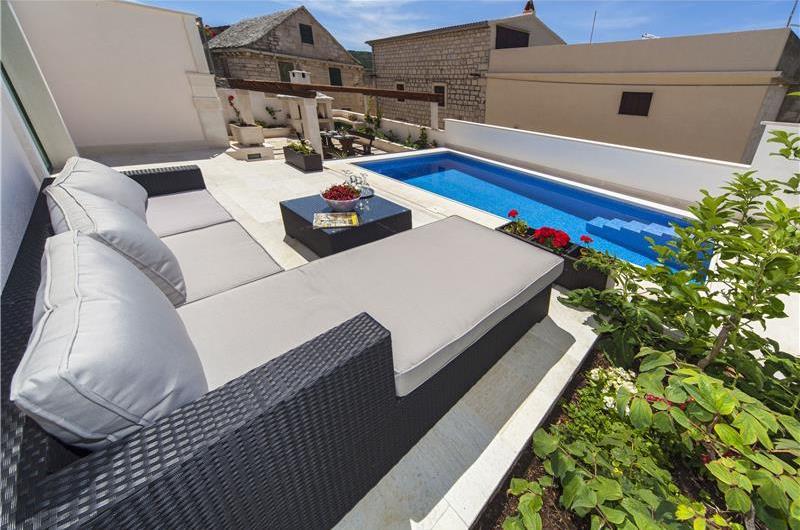 Brac Island Villa with Pool in Seaside Village of Povlja, sleeps 10-12