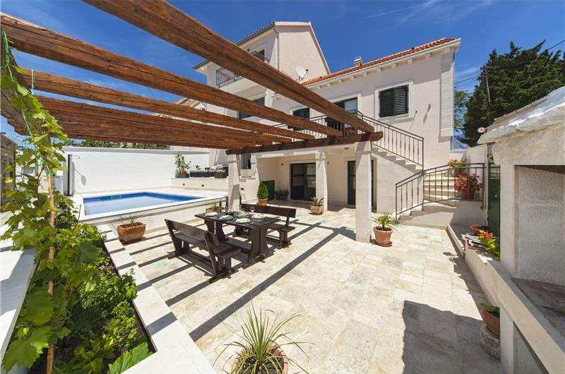 Brac Island Villa with Pool in Seaside Village of Povlja, sleeps 10-12