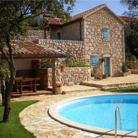 Three charming stone villas on one estate sleeping up to 16, near Crikvenica with views of Krk Island
